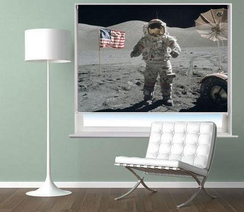 Space Astronaut on the Moon Printed Picture Photo Roller Blind - RB549 - Art Fever - Art Fever