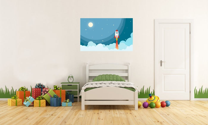 Space Rocket Image Printed Onto A Single Panel Canvas - SPC107 - Art Fever - Art Fever