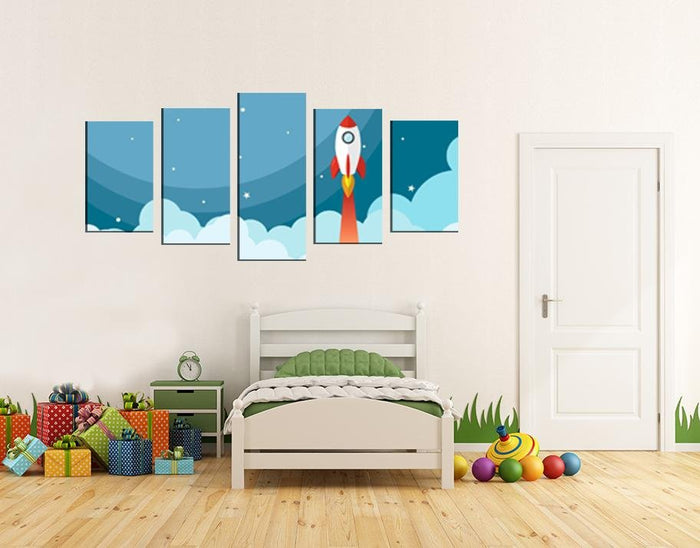 Space Rocket Scene Image Multi Panel Canvas Print wall Art - MPC137 - Art Fever - Art Fever