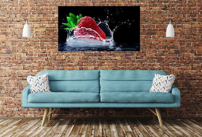 Strawberry Water Splash Image Printed Onto A Single Panel Canvas - SPC70 - Art Fever - Art Fever