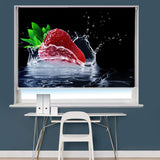 Strawberry Water Splash Printed Picture Photo Roller Blind - RB792 - Art Fever - Art Fever