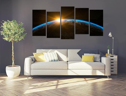 Sunrise Space Scene Image Multi Panel Canvas Print wall Art - MPC117 - Art Fever - Art Fever