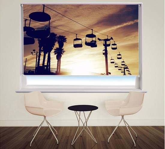 Sunset Cable Car Tropical Printed Picture Photo Roller Blind - RB327 - Art Fever - Art Fever