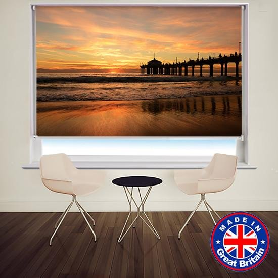 Sunset Pier Beach View Printed Picture Photo Roller Blind - RB574 - Art Fever - Art Fever