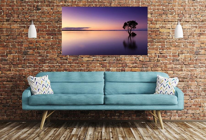 Sunset Tree Water Scene Image Printed Onto A Single Panel Canvas - SPC82 - Art Fever - Art Fever