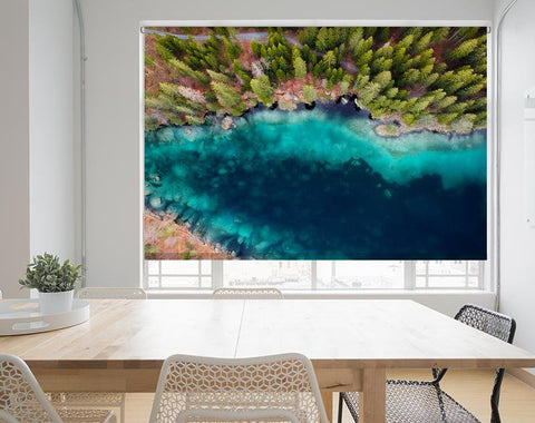 Swiss Mountain Lake from Above Printed Picture Photo Roller Blind - RB556 - Art Fever - Art Fever