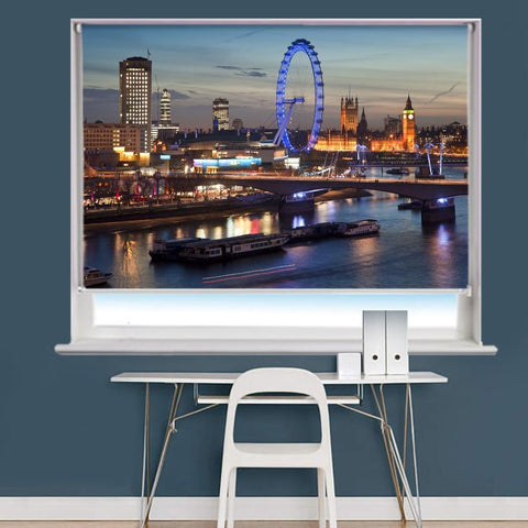 The London Skyline At Night Scene Image Printed Roller Blind - RB953 - Art Fever - Art Fever