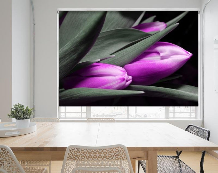 Three Pink Tulip Flowers Printed Picture Photo Roller Blind - RB682 - Art Fever - Art Fever