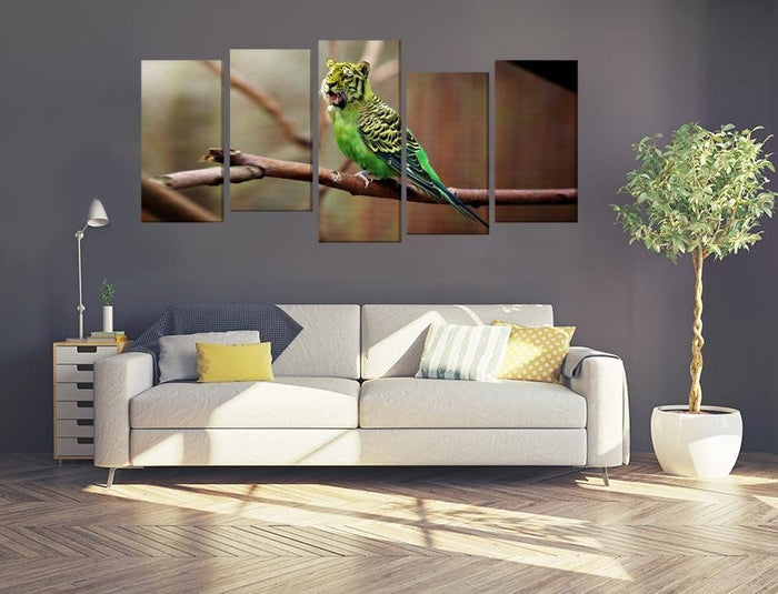 Tiger Budgie Image Multi Panel Canvas Print wall Art - MPC88 - Art Fever - Art Fever