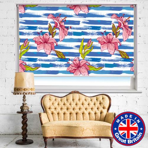Tiger Lilies Blue Stripes Floral Printed Picture Photo Roller Blind - RB520 - Art Fever - Art Fever