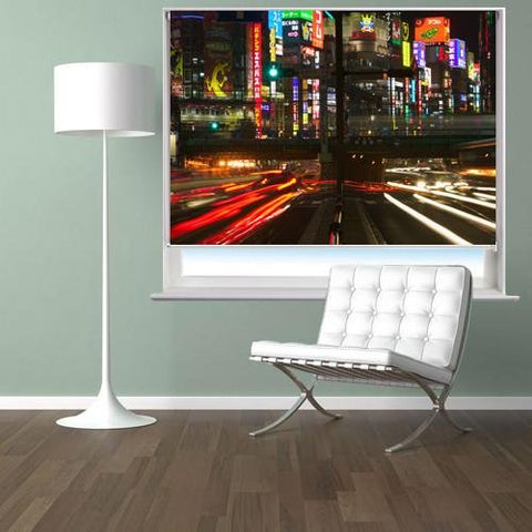 Tokyo Traffic at Night Printed Picture Photo Roller Blind - RB85 - Art Fever - Art Fever