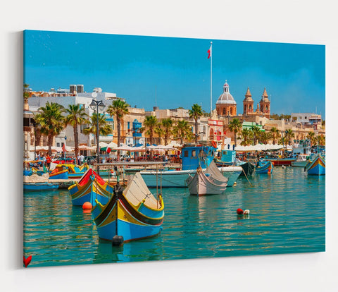 Traditional Eyed Boats In Malta Harbour Printed Canvas Print Picture - SPC162 - Art Fever - Art Fever