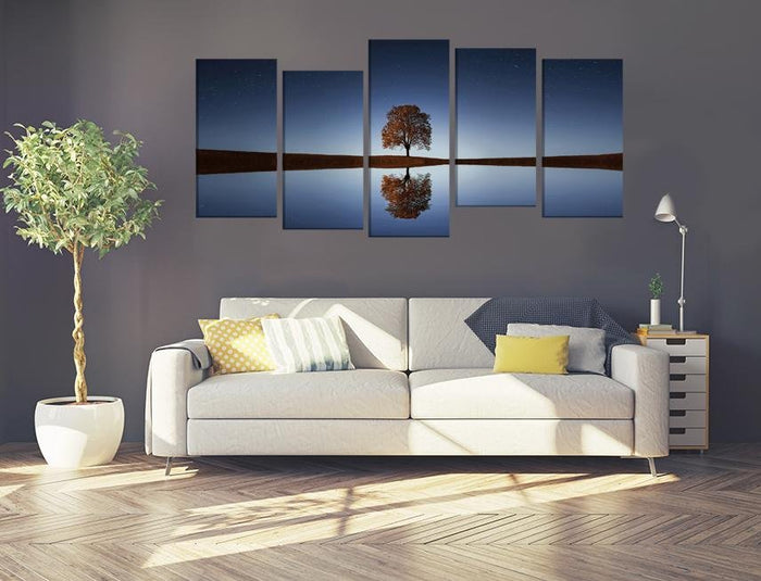 Tree Lake Reflection Multi Panel Canvas Print wall Art - MPC65 - Art Fever - Art Fever