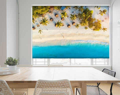 Tropical Beach Palm Trees Aerial Photo Printed Picture Photo Roller Blind - RB558 - Art Fever - Art Fever