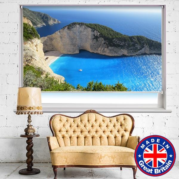 Tropical Corfu Beach Printed Picture Photo Roller Blind - RB575 - Art Fever - Art Fever