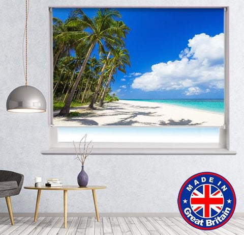Tropical Palm Tree Beach Scene Printed Picture Photo Roller Blind - RB634 - Art Fever - Art Fever
