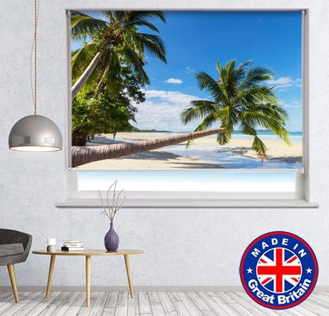 Tropical Palm Trees on the Beach Printed Picture Photo Roller Blind - RB636 - Art Fever - Art Fever