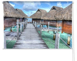 Tropical Sea Huts Printed Photo Picture Roller Blind - RB332 - Art Fever - Art Fever