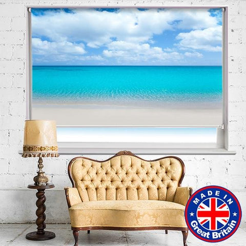 Turquoise Sea Beach Scene Printed Picture Photo Roller Blind - RB638 - Art Fever - Art Fever
