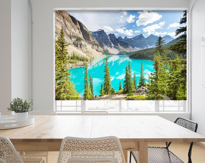 Turquoise Waters Of Moraine Lake In Banff National Park, Printed Picture Photo Roller Blind - RB693 - Art Fever - Art Fever