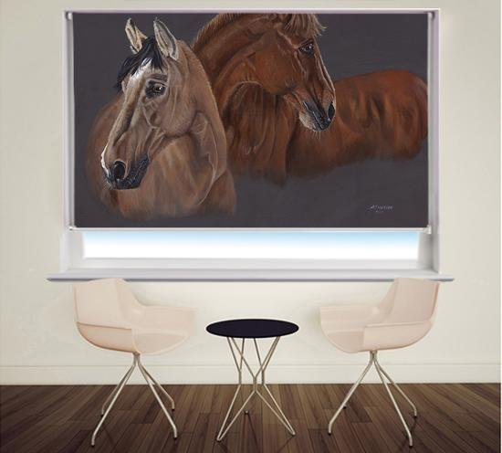 Two Brown Horses | Brief Encounter by Pam Morton Printed Picture Roller Blind - RB869 - Art Fever - Art Fever