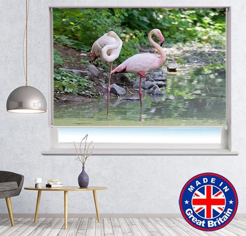 Two Flamingos in the Water Printed Picture Photo Roller Blind - Art Fever - Art Fever
