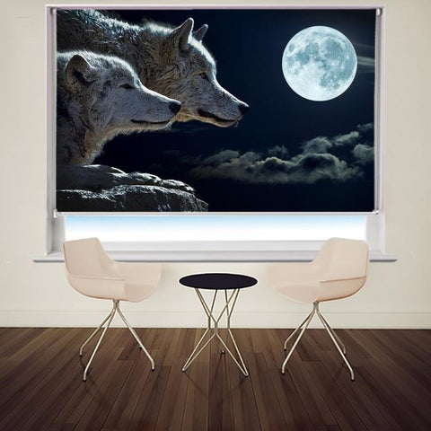 Two Wolves under the Full Moon Printed Picture Photo Roller Blind - RB679 - Art Fever - Art Fever