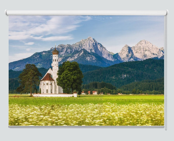 View Of St. Coloman Church, Schwangau, Bavaria, Germany Printed Picture Photo Roller Blind - RB1003 - Art Fever - Art Fever