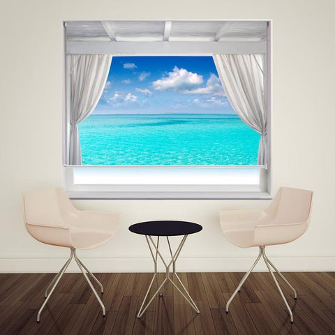 View out to the tropical Caribbean Sea Printed Picture Photo Roller Blind - RB112 - Art Fever - Art Fever