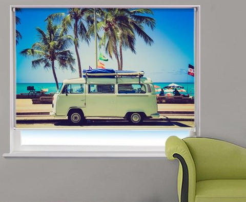 VW Campervan Tropical Beach Printed Photo Picture Roller Blind - RB313 - Art Fever - Art Fever