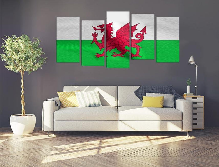 Wales Flag Multi Panel Canvas Print wall Art - MPC45 - Art Fever - Art Fever