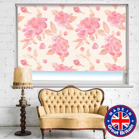 Watercolour of Pink Peony Floral Pattern Printed Picture Roller Blind - RB736 - Art Fever - Art Fever