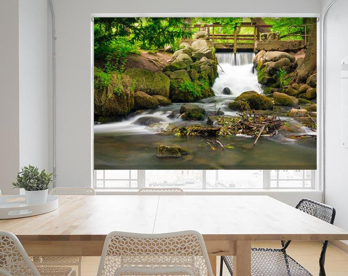 Waterfall and stream through the woods Printed Picture Photo Roller Blind - RB704 - Art Fever - Art Fever
