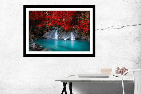 Waterfall in Tropical Rain Forest. National Park Kanchanaburi, Thailand Framed Mounted Print Picture - FP23 - Art Fever - Art Fever