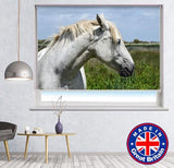 White Horse in the Wind Printed Picture Photo Roller Blind - Art Fever - Art Fever