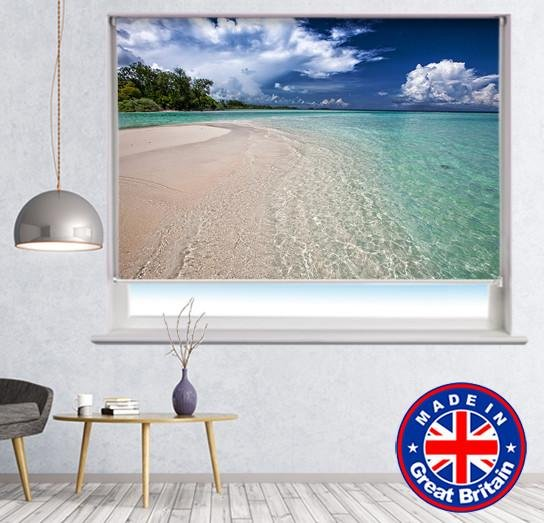 White Sand Beach Island Printed Picture Photo Roller Blind - RB564 - Art Fever - Art Fever