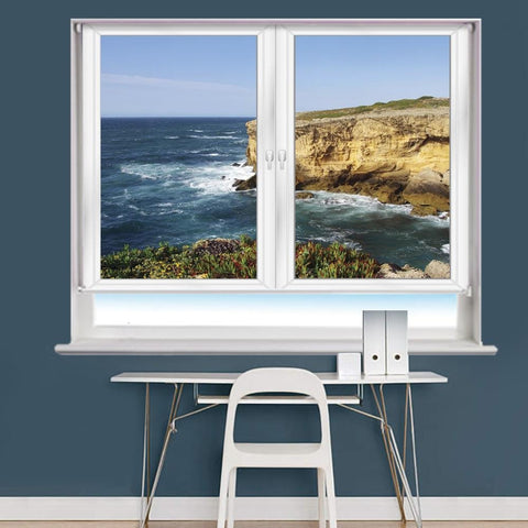 White Window Frame Cliffs Scene Printed Picture Photo Roller Blind - RB977 - Art Fever - Art Fever