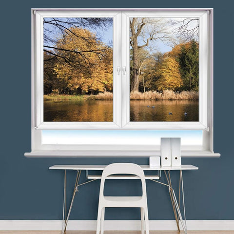 White Window Lake & Tree Scene Printed Picture Photo Roller Blind - RB978 - Art Fever - Art Fever
