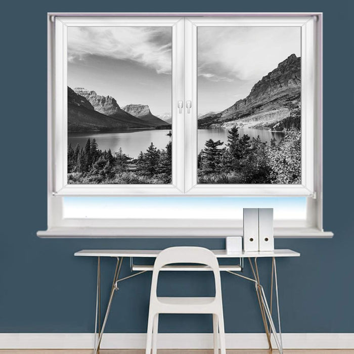 White Window Mountain Scene Printed Picture Photo Roller Blind - RB979 - Art Fever - Art Fever