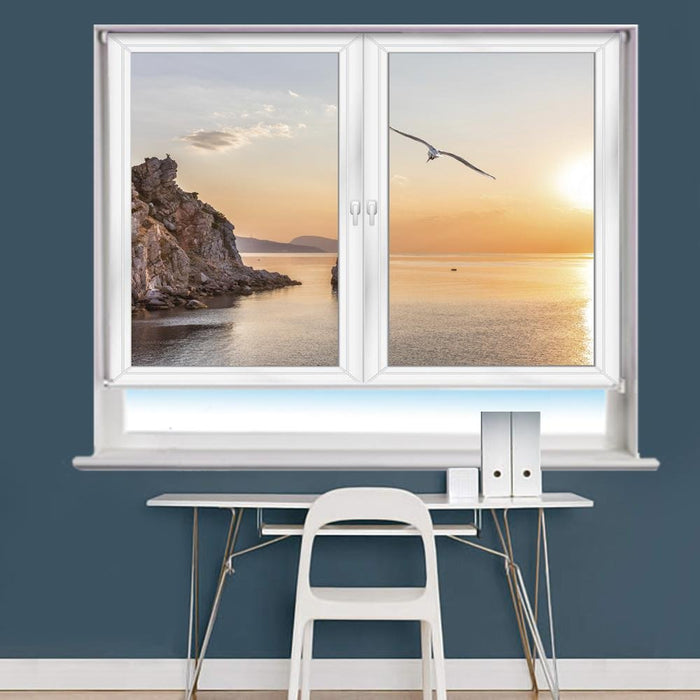 White Window Sea & Sunset Scene Printed Picture Photo Roller Blind - RB980 - Art Fever - Art Fever