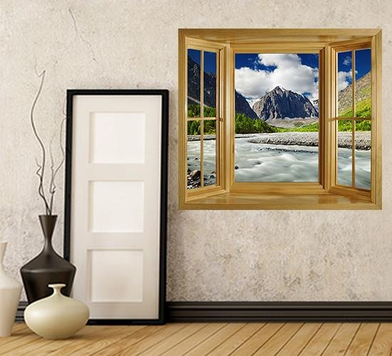 WIM122 - window frame wall sticker view of the Altai Mountains in Russia - Art Fever - Art Fever