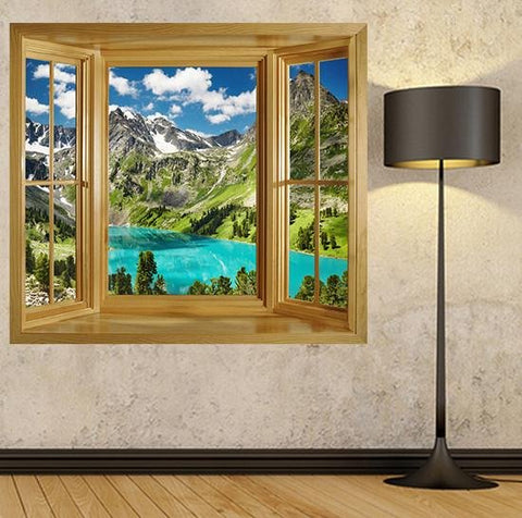 WIM123 - window frame wall sticker view of a beautiful turquoise lake in the altai mountains - Art Fever - Art Fever