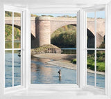 wim124 - window frame wall sticker view fishing in berwickshire, Scotland - Art Fever - Art Fever