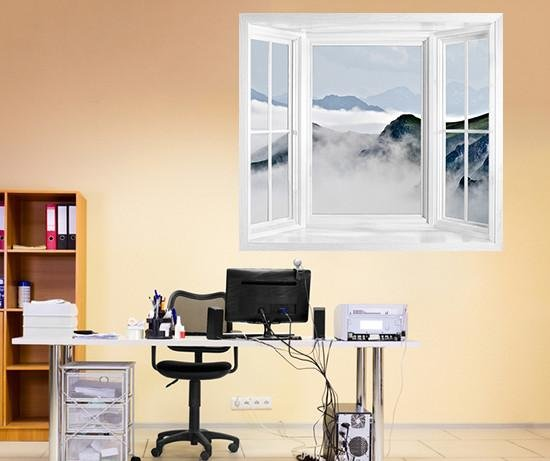WIM133 - Mountain range in fog window frame wall mural - Art Fever - Art Fever
