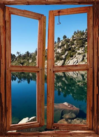 wim135 - window frame mural view Mountain Lake - Art Fever - Art Fever