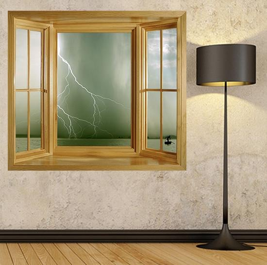 WIM138 - Amazing storm over a lake window frame wall mural - Art Fever - Art Fever