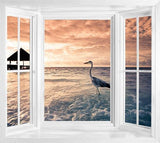 wim143 - Window frame wall mural view of a tropical beach at dawn. - Art Fever - Art Fever