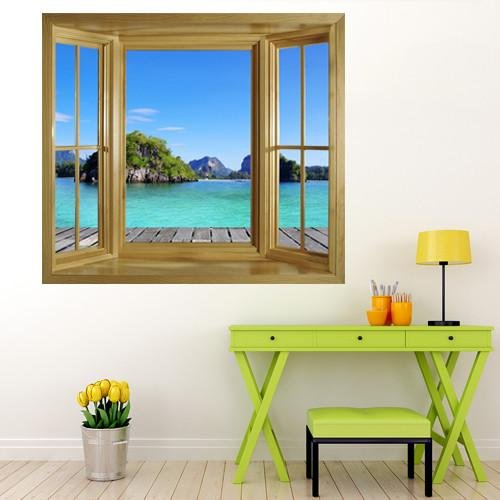 WIM151 - Window frame wall mural view of an island in the tropical thailand - Art Fever - Art Fever