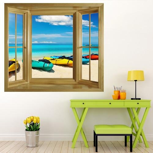 WIM153 - Kayaks On The Beach window frame view wallpaper mural - Art Fever - Art Fever
