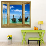 WIM155 - Window frame wall mural view of long tail boats on a tropical Thailand beach - Art Fever - Art Fever